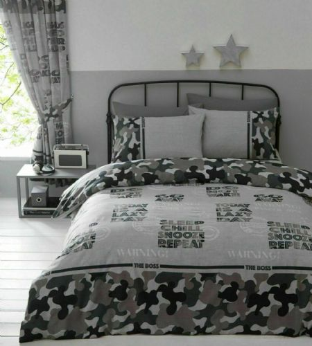 CAMOUFLAGE GREY BLACK ARMY CAMO KIDS BOYS BEDROOM DUVET QUILT COVER OR CURTAINS